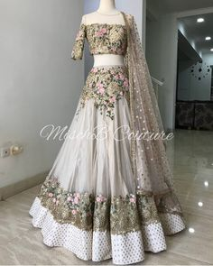 Nylon Mono Net Lehenga Choli In Off White Colour Off White Colour Nylon Mono Net Fabric Party Wear Lehenga Choli Comes with matching blouse. This Lehenga Choli Is crafted with Thread Work,Sequins Work This Lehenga Choli Comes with Unstitched Blouse . Indian Gowns Dresses, Indian Fashion Dresses, Dress Indian Style, Indian Designer Outfits, Designer Dresses, Fashion Outfits, Pakistani Designer Clothes, Pakistani Party Wear Dresses, Pakistani Clothing