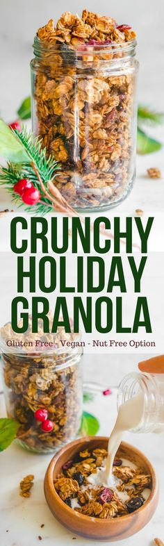 This crunchy Holiday Spiced Granola, is bursting with fragrant and warming spices and serves as a perfect vegan breakfast, topping, or snack. This gluten free treat is great for yourself or as a gift for a neighbor or teacher! Make it now and see what you think! Vegetarian Recipes Dinner, Vegan Breakfast Recipes, Brunch Recipes, Snack Recipes, Easy Healthy Recipes, Healthy Snacks, Vegan Recipes, Healthy Eating, Vegan Snacks
