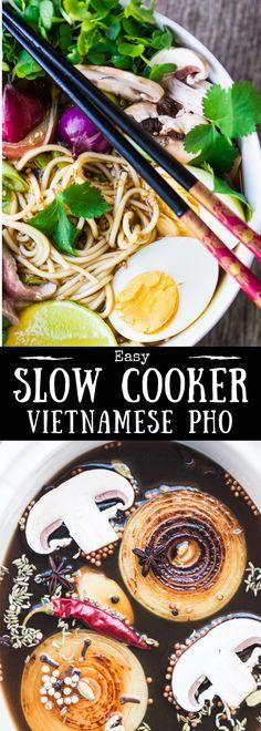 Easy Slow Cooker Pho Recipe ~ Authentic pho | Vietnamese noodle soup | crock pot | Noodle bowl