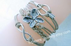 Neutral fashion simple --- ancient silver unlimited arrows, flower-shaped cross leather bracelet, Christmas gift.