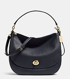 COACH TURNLOCK HOBO IN PEBBLE LEATHER