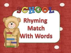 Your students will have fun playing this games as they practice their rhyming skills. This is a perfect activity for your literacy stations. It is appropriate for preschool-2nd grade & RTI students.This activity is connected to the Common Core Standards.Material:Rhyming Boards Rhyming Picture Cards*Laminate both for durabilityDirections:Place cards face down.