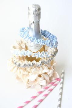 Modern ivory and blue wedding garters-by The Garter Girl