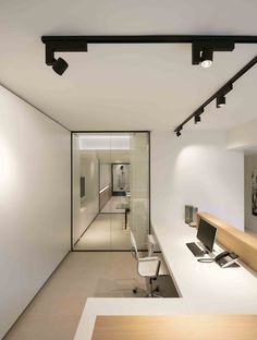 Architects office design minimalist wood desk erubo spotlight track