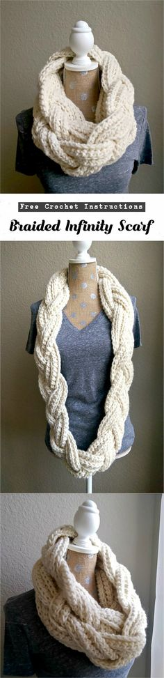 Crochet Braided Infinity Scarf Another infinity scarf, but not another simple infinity scarf. As you can see there is special design on the pictures for the scarf and we have great news for you, This Crochet Braids, Crochet Scarves, Crochet Shawl, Crochet Clothes, Crochet Stitches, Knit Crochet, Crochet Hat For Women, Crochet Baby, Free Crochet