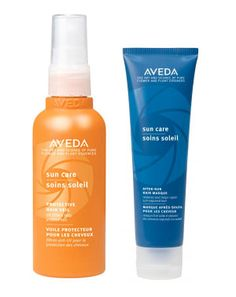 Aveda Sun Care Protective Hair Veil & Aveda After-Sun Hair Masque. These smell lovely and work wonders!