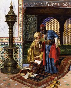 """Rudolf Ernst, """"The Letter,"""" oil on panel, 25 x 21 in. Collection of the Dahesh Museum of Art Fine Art Connoisseur - Dahesh Exhibition Explores Old And New Views Of The """"Orient"""" Portrait Photos, Empire Ottoman, Arabian Art, Arabian Nights, Egyptian Art, Nocturne, Beautiful Paintings, Islamic Art, African Art"""