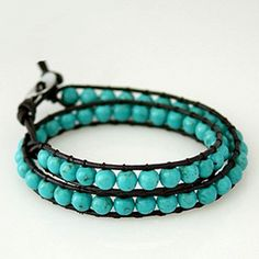 Turquoise howlite beads 2 row wrap. Wearing just a bracelet, cut the leather once you know your size.