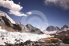Yellow dining tent in Everest base camp, Khumbu himal Nepal