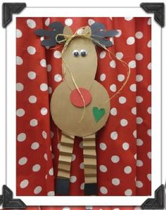 Reindeer. Make a snowman version. Hole punch eyes, buttons, mouth {hand strength}....fold acordian legs and arms {deterity, BLC}....work on cutting skills....sensory with glue/paint. Visual motor/visual percept - following the model and correct item placement.