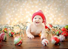 6 month Christmas shoot - using Christmas lights and ornaments.