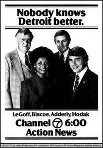 Jac LeGoff, Doris Biscoe, Larry Adderly and Jerry Hodak on Channel 7 in Detroit Flint Michigan, State Of Michigan, Detroit Michigan, Detroit History, Local History, Family History, Michigan Travel, Metro Detroit, Channel