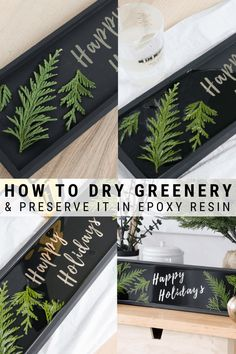 Preserving Leaves in Resin: How to Preserve Evergreen Leaves Christmas Greenery, Christmas Diy, Christmas Decorations, Holiday Decor, Resin Crafts, Diy Crafts, Resin Art, Pallet Garden Box, How To Preserve Leaves