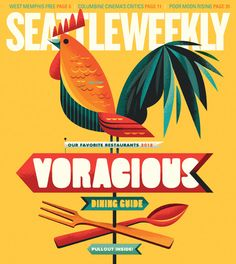 Seattle Weekly-EDITORIAL-It's typography, but this stylized Rooster could be quilled. He's beautiful