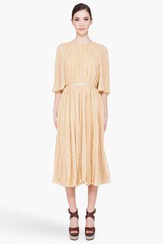 Vanilla Pleated Gown