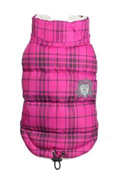 Hip Doggie Plaid Sherling Puffer Vest - Pink