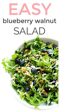 This blueberry walnut arugula salad with a lemon dressing is light, refreshing and a definite crowd-pleaser! Plus, it's packed full of omega 3's and antioxidants, which are great for the heart! The perfect salad for those warmer months! #blueberrysalad #healthy #glutenfree Heart Healthy Recipes, Healthy Side Dishes, Healthy Salad Recipes, Vegetable Side Dishes, Vegetarian Recipes, Healthy Lunches, Coleslaw Recipes, Detox Recipes, Eating Healthy