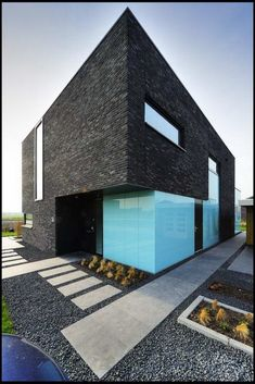 Modern House, Minimalistic, Geometric, Loving the blue edge