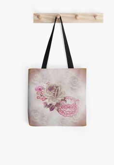 #VintagePink #Teacup&Flowers #ToteBag by #MoonDreamsMusic #ShabbyChicStyle #SweetlyScrapped