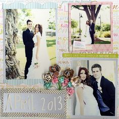 Wedding - formal wedding portraits photos - 3 photo wedding scrapbook layout