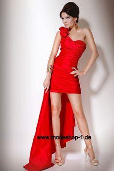 Rotes Vokuhila Abendkleid mit Diana Träger von www.modeshop-1.de