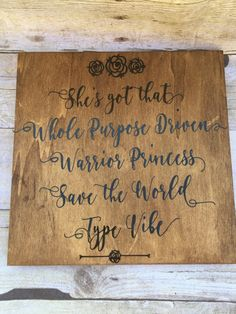 10x10 Wooden Sign Warrior Princess Vibe by TheInspiredSparrowCo