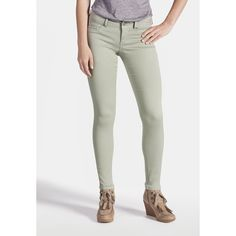 maurices Jegging In Green Frost ($27) ❤ liked on Polyvore featuring pants, leggings, green frost, slim fit trousers, maurices, jeggings leggings, green leggings and green trousers