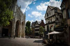 Around Rouen old town, Rouen France Day Trip, Old Town, Cathedral, Europe, France, Mansions, House Styles, Places, Mansion Houses