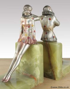 Rare Art Deco Austrian bronze bookends by Josef Lorenzl, the figures with enameling by Crejo circa 1920s