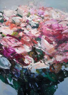 Blumen rot weiß | Öl auf Leinwand