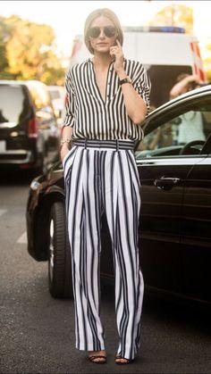 Olivia Palermo, stripes on stripes.