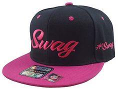 Vintage Swag Flat Bill Snap Back Baseball Cap Hat Black/Pink