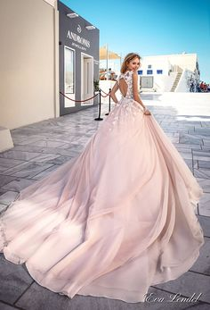 Eva Lendel 2017 bridal sleeves deep v neck heavily embellished bodice romantic pretty pink color a line wedding dress keyhole back royal train (britany) bv #wedding #bridal #weddingdress #ballgown #pink #blush #fairytale