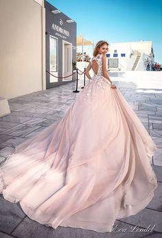 Eva Lendel 2017 bridal sleeves deep v neck heavily embellished bodice romantic pretty pink color a line wedding dress keyhole back royal train (britany) bv #wedding #bridal #weddingdress #ballgown #pink #blush #fairytale
