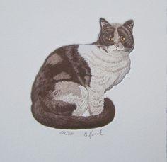 Vintage Bilder - ❀katze °flecki°❀ Original-Radierung, Katze - ein Designerstück von Sammel-Leidenschaft bei DaWanda