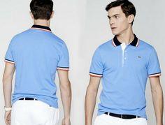 Polos Lacoste bleu ciel manches courtes avec liserés bleus, blancs et rouges