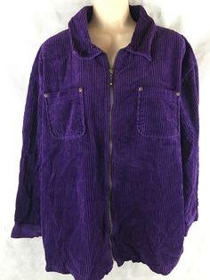 Denim & Co Womens Size Large Purple Corduroy Jacket Full Zipper Closure #DenimCo #BasicJacket
