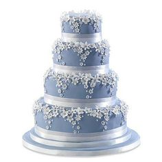 by .. Daisy Hill Cake Company -- blue cake with white flowers --- so PRETTY!