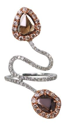 """L' Dezen Jewellery Sliced and Pave Diamond """"Up or Down"""" Ring (Rose and White Gold)"""
