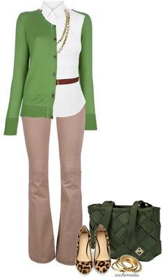 A fashion look from April 2013 featuring white blouse, green cardigan and J Brand. Browse and shop related looks. Mode Outfits, Fall Outfits, Casual Outfits, Fashion Outfits, Looks Style, Style Me, Look Office, Office Wear, Stylish Office