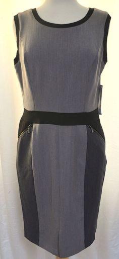 Nine West Colorblock Sleeveless Dress w Zip Pockets Charcoal & Black Sz 10 New #NineWest #SheathDress #Work #career #fashion #style