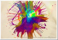 salad spinning art- colour mixing and physics all in one!