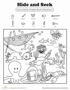 Kindergarten First Grade Coloring Animals Nature Worksheets: Hide and Seek Worksheet