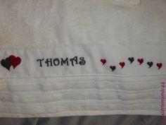 Drap de bains Mariage Alexandra & Thomas. Brodé mains. - point de croix - cross stitch - broderie - embroidery -. Blog : http://broderiemimie44.canalblog.com/