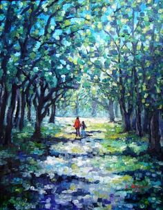 "Saatchi Art Artist Cristina Stefan; Painting, """"Walking in the Parc, Montreal"" (Original SOLD - CANADA)"" #art"