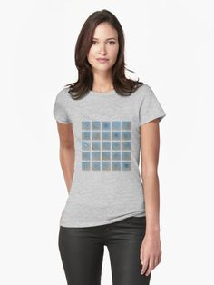 Women's fitted t-shirt with real snowflake photos. Light blue square collage with 25 interesting snowflakes, captured during winter 2012-2013, arranged as grid of 5 x 5 tiles. • Also buy this artwork on apparel, stickers, phone cases, and more.