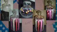 Pots en verre décorés au masking tape et à la peinture 3D DIAM'S