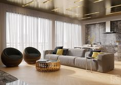 Studio DEnew emphasizes the sleek textures of polished brass and lustrous stone in this extra-luxurious Moscow apartment. Even the ceiling is richly plated with brilliant brass! It would be difficult to find an apartment with metallic texture as well integrated as this one. Of course, this opulent style would certainly prove difficult to emulate without extreme attention to detail – and this apartment is very conscious of how each part fits into the whole.