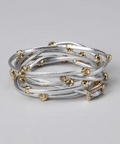Gold & silver metallic leather wrap bracelet