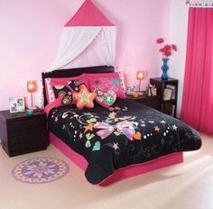 (Click to order - $149.90) Black Pink Butterfly Comforter Bedding Set Twin 7 Pcs From comforter